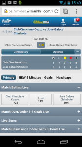 William Hill mobile web live football stats